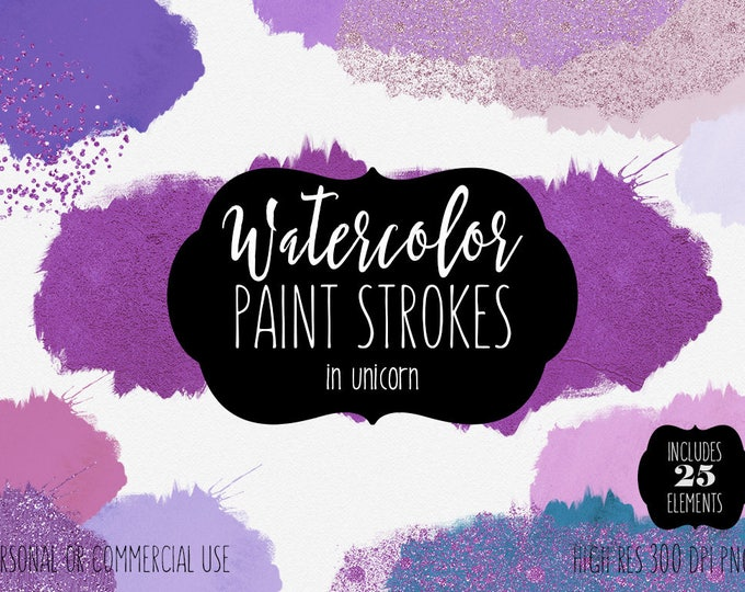 PURPLE WATERCOLOR Brush Strokes Clipart Commercial Use Clipart 25 Watercolor Paint Splatters & Metallic Confetti Textures Logo Graphics