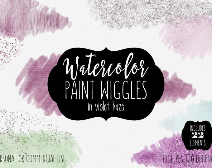 MINT WATERCOLOR PAINT Brush Strokes Clipart Commercial Use Clip Art 22 Watercolor Paint Strokes Green Purple Confetti Brush Logo Graphics