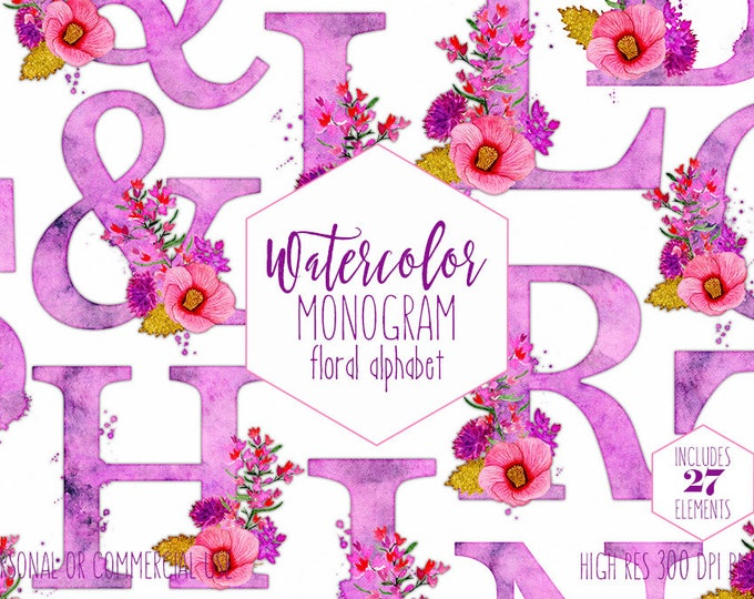 PINK WATERCOLOR FLORAL Alphabet Clipart Tropical Wedding Monogram Clip Art for Commercial Use Purple Hibiscus Flower Letters Digital Alpha