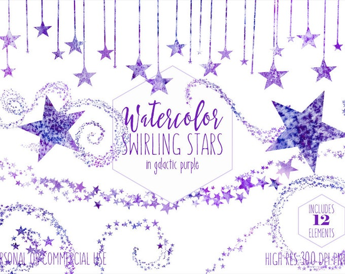 PURPLE WATERCOLOR STAR Clipart Commercial Use Clip Art Star Sky Graphics Dark Purple Galaxy Star Border Celestial Stars Baby Shower Graphics