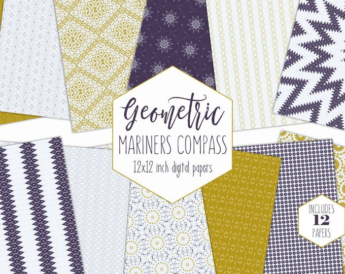 MODERN NAUTICAL Digital Paper Pack Baby Boy Star Backgrounds Mustard Yellow Navy Blue Scrapbook Mariners Compass Patterns Nursery Clipart