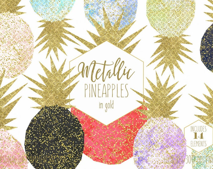 GOLD CONFETTI PINEAPPLE Clipart for Commercial Use Clip Art Watercolor Tropical Fruit Gold Metallic Glitter Planner Sticker Digital Graphics