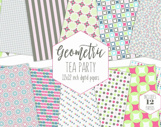 LITTLE GIRLS Digital Paper Pack Tea Party Backgrounds Pink Gray & Lime Scrapbook Papers Geometric Fun Patterns Party Printable Baby Clipart