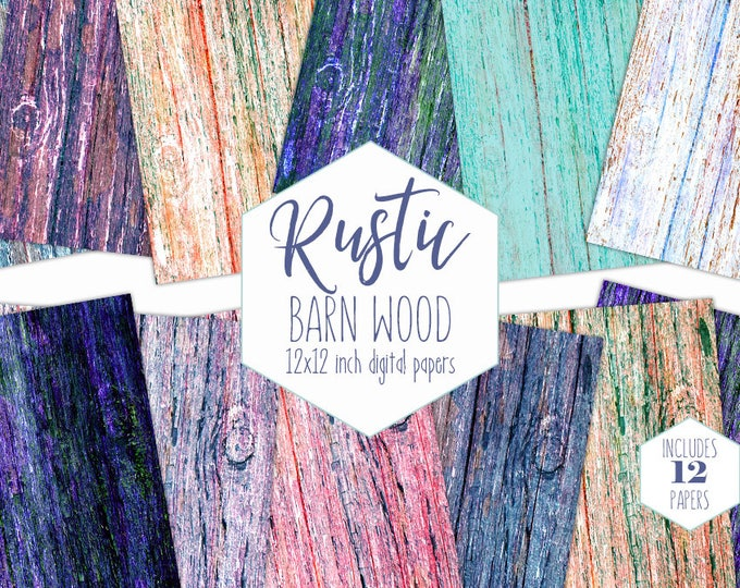 PAINTED WOOD Digital Paper Pack Tree Bark Backgrounds Wood Backdrops Rainbow Scrapbook Paper Purple Wood Grain Images Commercial Use Clipart