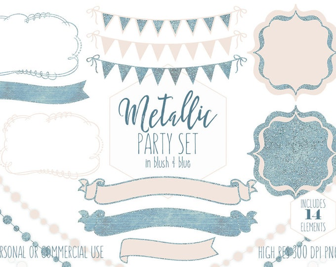 BLUE & BLUSH PINK Party Clipart for Commercial Use Clip Art Bunting Banners Frame Fairy Lights Birthday Baby Shower Wedding Digital Graphics