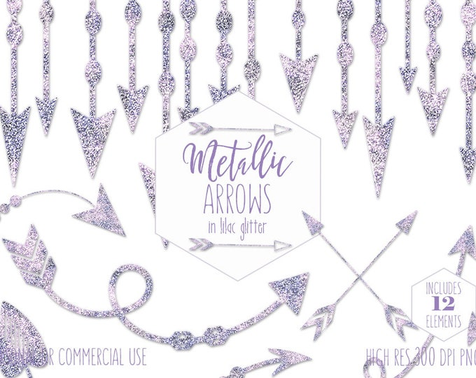 PURPLE ARROW CLIPART Commercial Use Boho Clip Art Lavender Glitter Arrows Bohemian Tribal Wedding Border Frame Invitation Digital Graphics