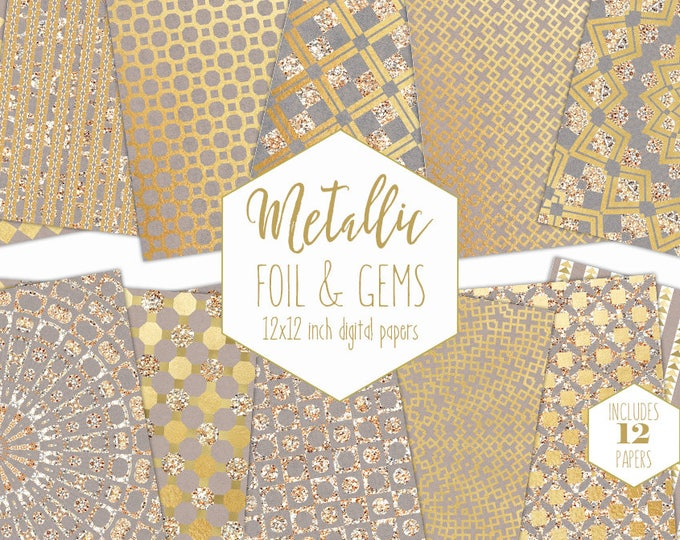 GOLD FOIL Digital Paper Pack Gemstone Backgrounds Metallic Scrapbook Paper Geometric Wedding Patterns Party Printable Commercial Use Clipart