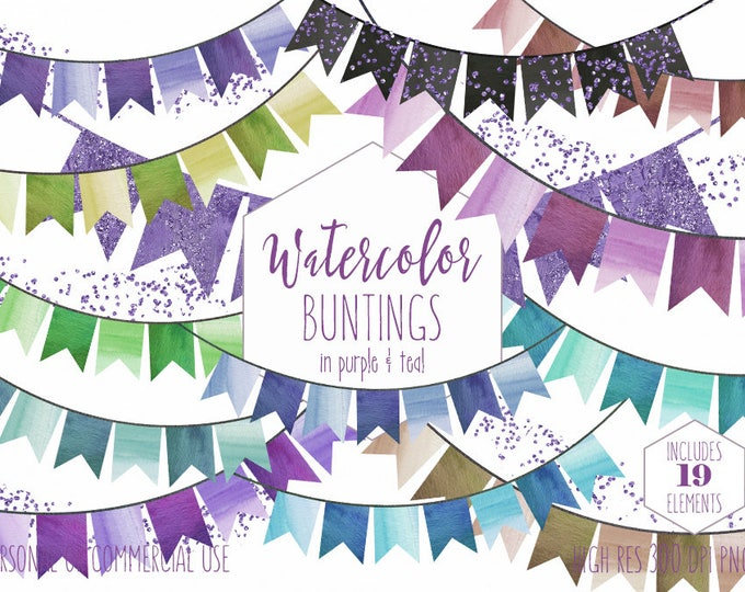 BIRTHDAY PARTY Clipart Commercial Use Clip Art 19 Watercolor Bunting Banner Garlands Teal Purple Metallic Confetti Fun Invitation Graphics