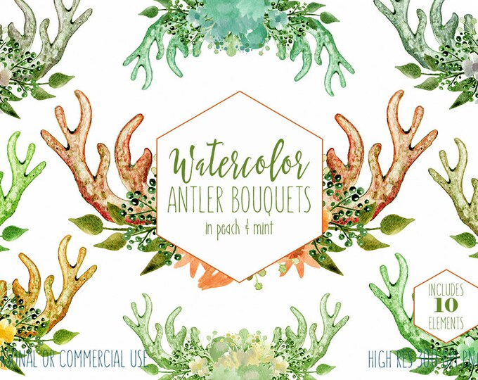 PEACH MINT ANTLER Clipart Commercial Use Clip Art Coral Hand-Painted Watercolor Deer Antlers & Flowers Boho Floral Wreath Bouquet Graphics
