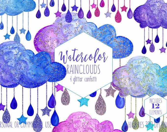 BLUE BABY BOY Clipart Commercial Use Clip Art Watercolor Rain Clouds Purple & Royal Blue Glitter Confetti Rain Drops Stars Shower Graphics