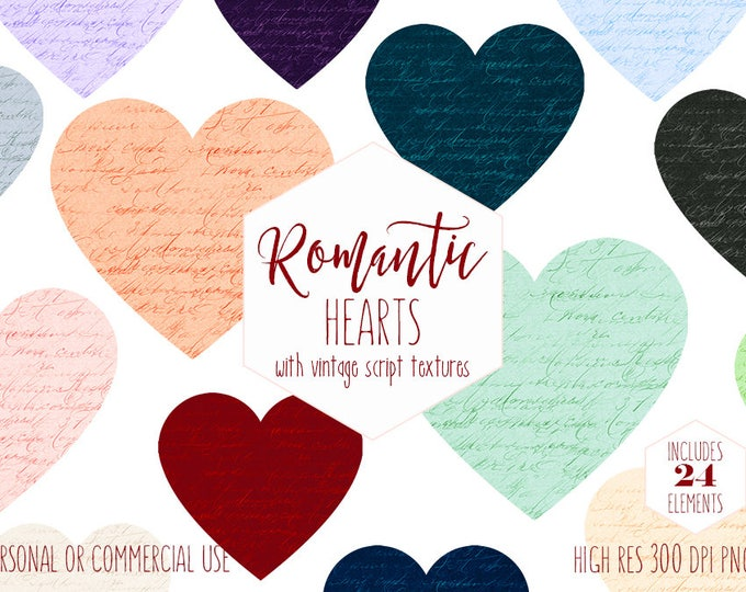 ROMANTIC HEART CLIPART for Commercial Use Wedding Clip Art Vintage Script Texture Handwriting Heart Shapes Rainbow Colors Digital Graphics
