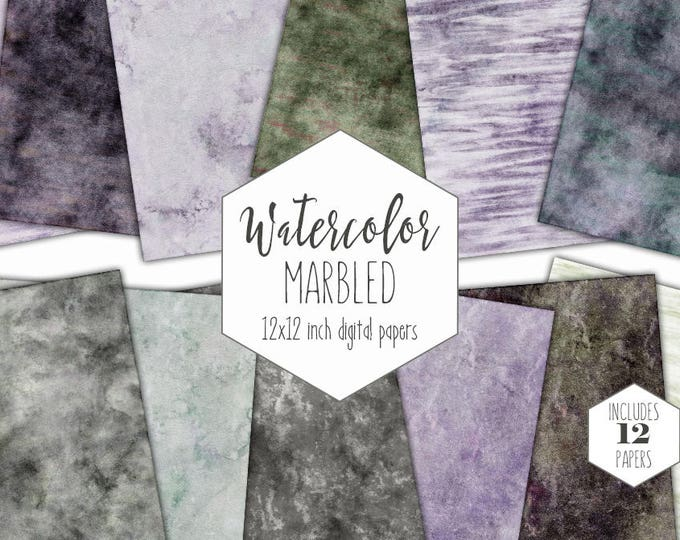 BLACK WATERCOLOR MARBLE Digital Paper Pack Commercial Use Gray Backgrounds Earth Tones Scrapbook Paper Purple Marbled Watercolor Textures