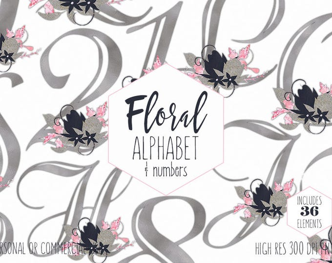 SILVER FLORAL ALPHABET Clipart for Commercial Use Wedding Monogram Clip Art Blush Pink Navy Blue Foil Letters & Numbers Digital Graphics