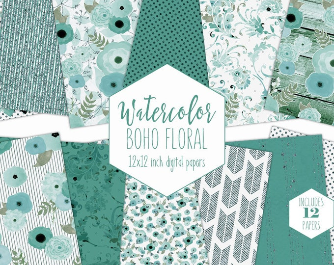 TEAL WATERCOLOR FLOWER Digital Paper Pack Aqua Green Metallic Floral Commercial Use Backgrounds Shabby Chic Wood Wedding Scrapbook Patterns