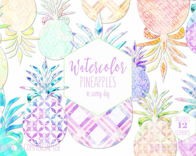 WATERCOLOR PINEAPPLES Clipart Commercial Use Clip Art Mint Lime Pink Geometric Pineapple Clipart Tropical Pineapple Planner Sticker Graphics