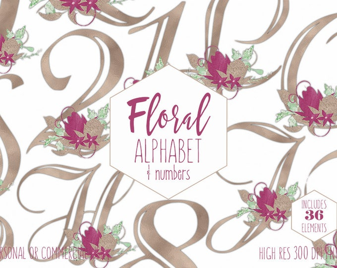 ROSE GOLD FLORAL Alphabet Clipart for Commercial Use Burgundy Wedding Monogram Clip Art Foil Letters & Numbers Flower Alpha Digital Graphics