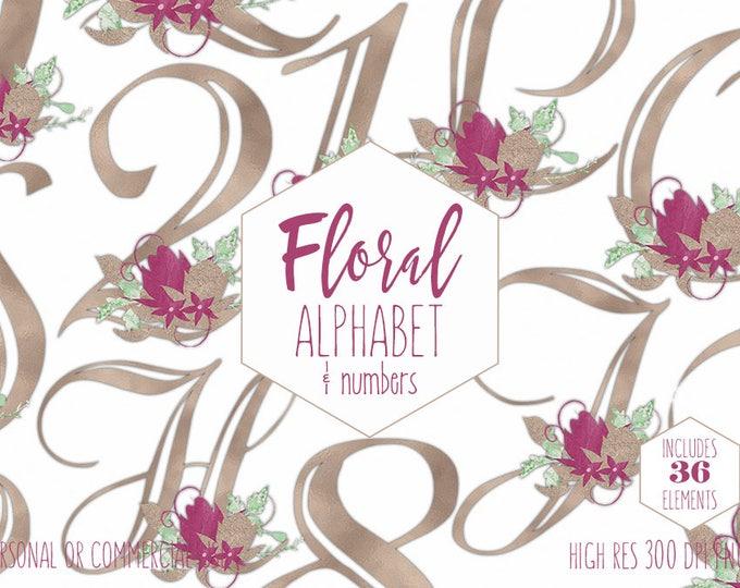 ROSE GOLD FLORAL Alphabet Clipart for Commercial Use Burgundy Wedding Monogram Clip Art Foil Letters & Numbers Flower Alpha Digital Graphics