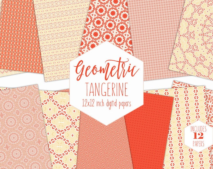 CHIC BOHEMIAN Digital Paper Pack Yellow Peach & Orange Backgrounds Citrus Scrapbook Papers Summer Patterns Party Printable Kitchen Clipart