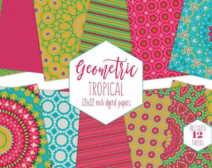 TROPICAL FLORAL Digital Paper Pack Summer Mandala Backgrounds Hot Pink Blue & Lime Scrapbook Papers Beach Patterns Commercial Use Clipart