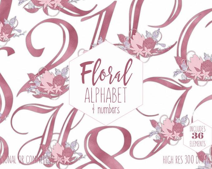 PINK FOIL FLORAL Alphabet Clipart for Commercial Use Blush Wedding Monogram Clip Art Foil Letters & Numbers Flower Bouquets Digital Graphics