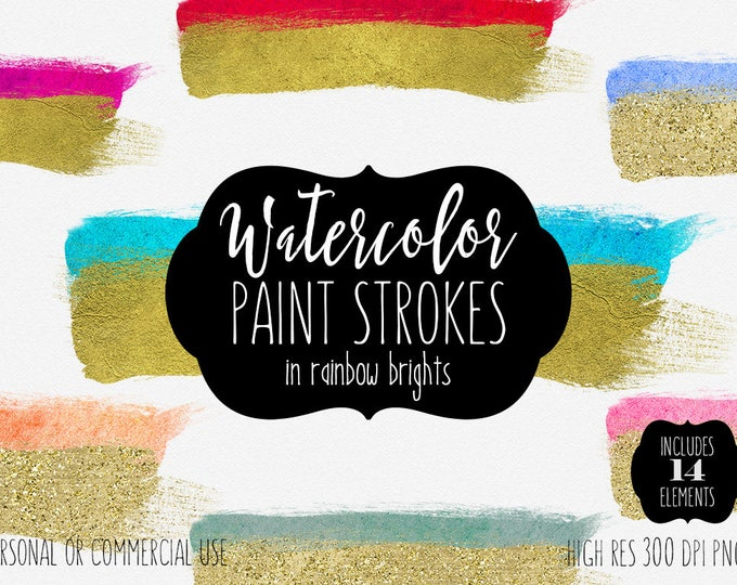 GOLD & WATERCOLOR BRUSH Strokes Clipart Commercial Use Clipart 14 Watercolor Paint Splash Gold Paint Graphics Watercolor Brush Logo Design