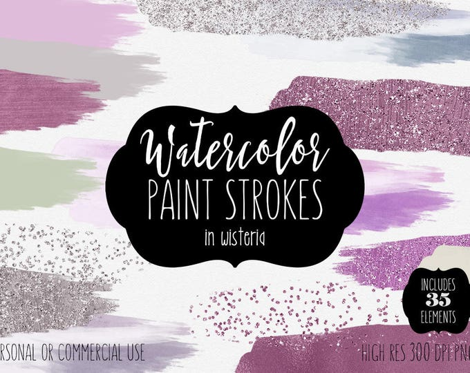 PURPLE WATERCOLOR & SILVER Confetti Brush Strokes Clipart Commercial Use Clip Art 35 Paint Strokes Mint Lavender Watercolor Logo Clip Art