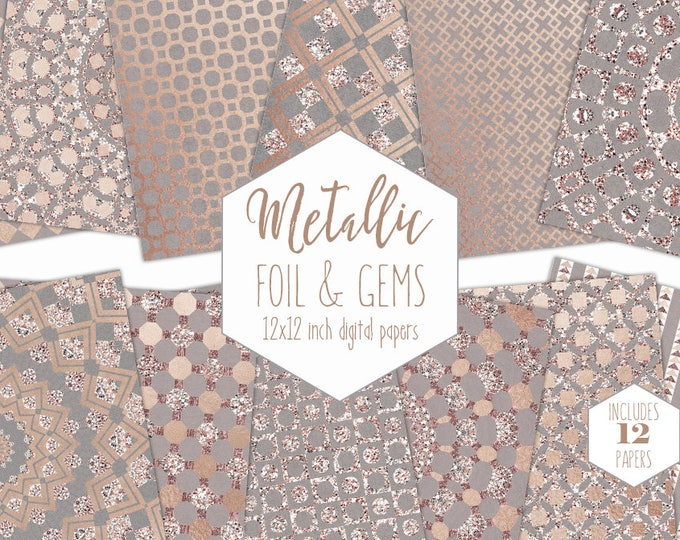 ROSE GOLD FOIL Digital Paper Pack Wedding Backgrounds Metallic Geometric Scrapbook Paper Gem Pattern Party Printable Commercial Use Clipart