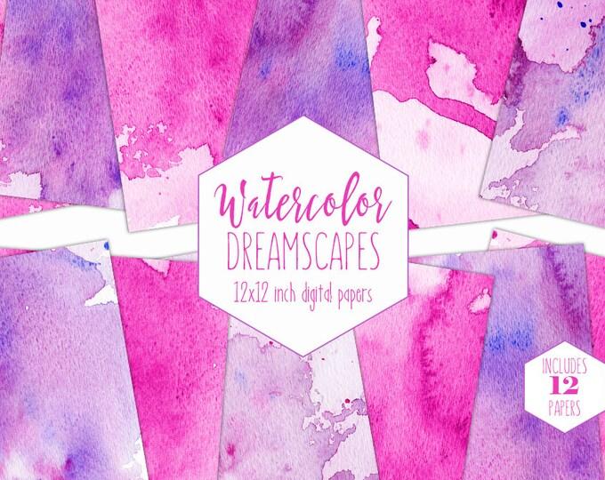 HOT PINK WATERCOLOR Digital Paper Pack Commercial Use Backgrounds Purple Splatter Scrapbook Paper Girl Clipart Watercolour Wash Textures