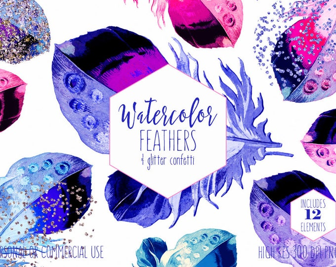 WATERCOLOR FEATHER Clipart Commercial Use Clip Art Blue Pink & Purple Feathers Metallic Gold Confetti Boho Chic Tribal Feather Graphics