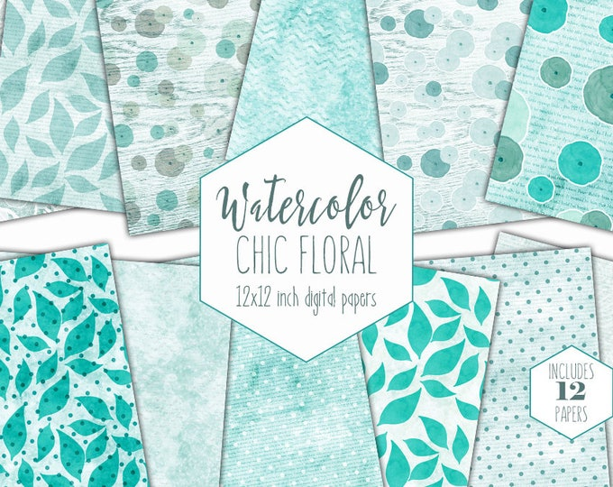 AQUA WATERCOLOR FLOWERS Digital Paper Pack Commercial Use Backgrounds Scrapbook Papers Modern Teal Floral Shabby Chic Wood Lace Dots Paper