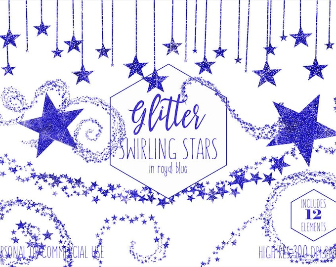 BLUE GLITTER STARS Clipart Commercial Use Clip Art Sparkling Royal Blue Metallic Stars Celestial Sky Images Kids Birthday Digital Graphics