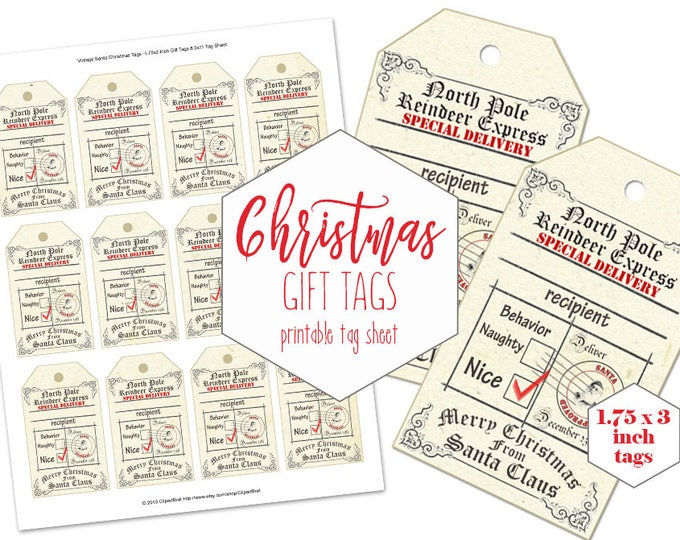 PRINTABLE CHRISTMAS Gift Tags for Kids Naughty or Nice From Santa Claus Reindeer Express DIY Labels Vintage North Pole Holiday Hang Tags