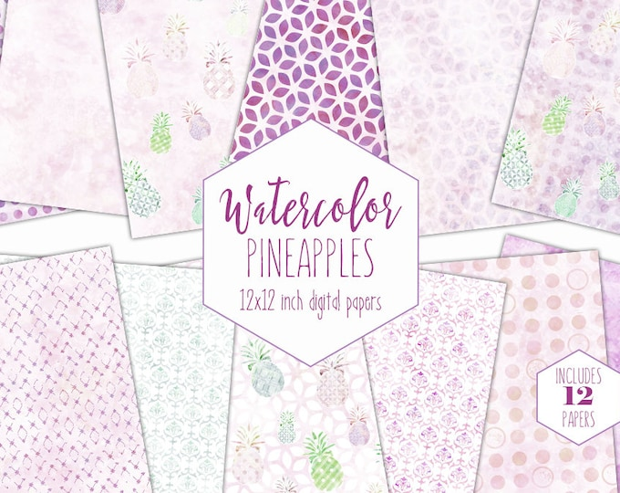 CUTE TROPICAL PINEAPPLES Digital Paper Pack Commercial Use Backgrounds Violet Purple & Pink Scrapbook Papers Geometric Watercolour Textures