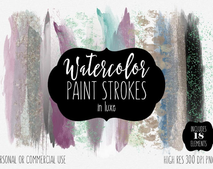 BLUSH WATERCOLOR & Rose Gold Brush Strokes Clipart Commercial Use Clip Art Paint Strokes Shop Banner Gray Pink Mint Confetti Logo Graphics