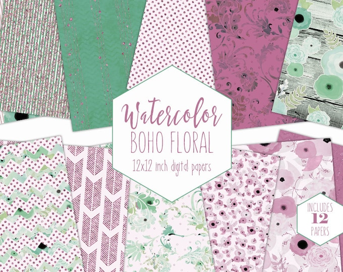BOHO WATERCOLOR FLORAL Digital Paper Pack Commercial Use Mauve Pink Backgrounds Metallic Scrapbook Papers Bohemian Wood & Flower Patterns