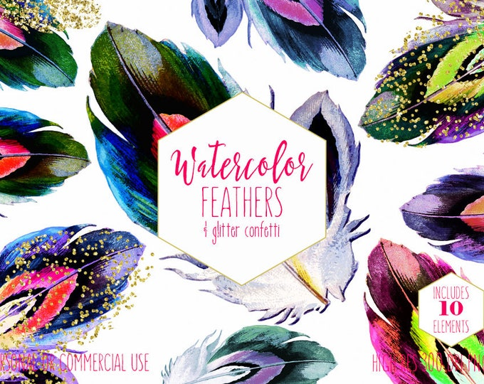 WATERCOLOR FEATHER CLIPART Commercial Use Clip Art Rainbow Bird Feathers Metallic Gold Confetti Boho Chic Feathers Tribal Feather Graphics