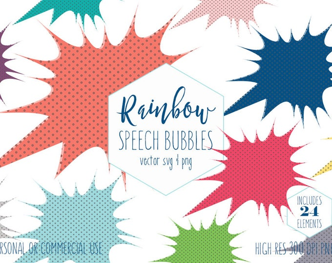 SUPERHERO BUBBLE CLIPART Commercial Use Planner Sticker Clip Art Comic Callout Frame Action Text Speech Bubble Digital Vector Graphics Svg