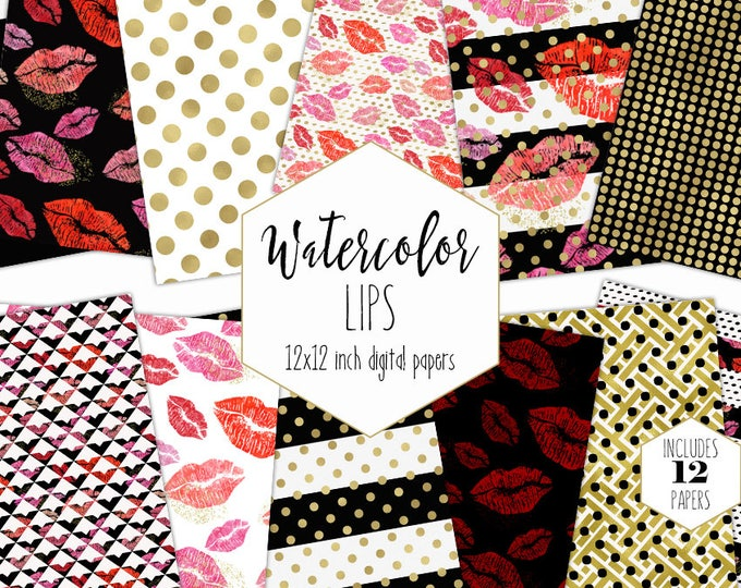 WATERCOLOR LIPS Digital Paper Pack Valentine's Day Red Pink Gold Metallic Commercial Use Backgrounds Lipstick Kiss Makeup Scrapbook Patterns
