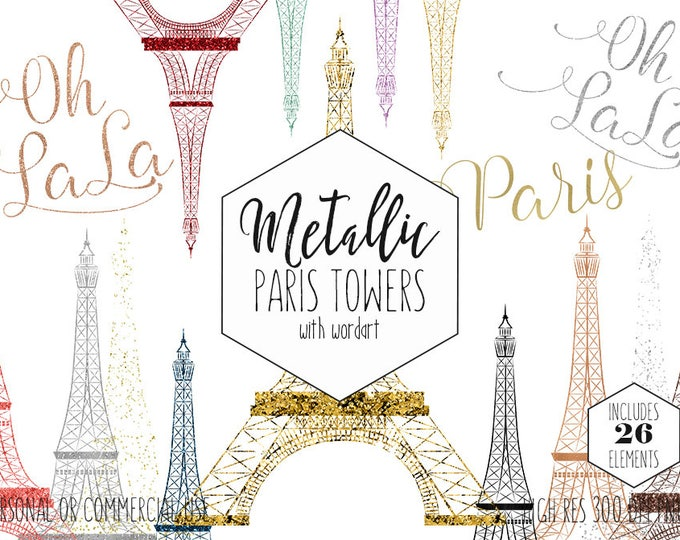 PARIS EIFFEL TOWER Clipart for Commercial Use Clip Art Rose Gold French Word Art Oh La La Metallic Foil Confetti Girly Fun Digital Graphics