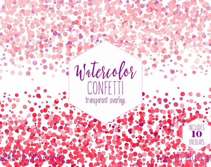 PINK CONFETTI BORDER Clipart Commercial Use Clip art 10 Party Confetti Transparent Overlays Blush Pink Purple Wedding Invitation Graphics
