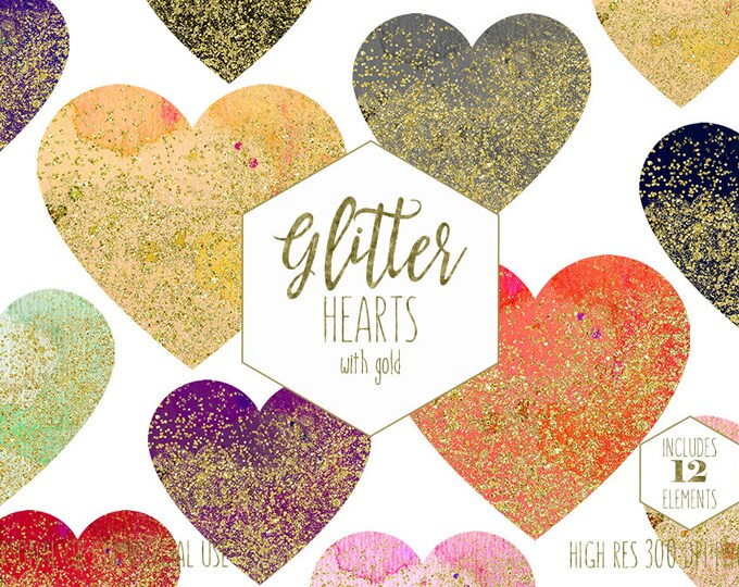 GOLD CONFETTI HEARTS Clipart for Commercial Use Clip Art Watercolor Hearts Glitter Heart Shapes Planner Sticker Clipart Digital Graphics