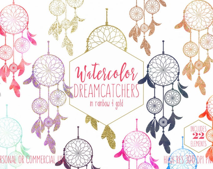 BOHO CHIC DREAMCATCHER Clipart Commercial Use Clip Art Rainbow Colors & Metallic Gold Confetti Peach Pink Coral Tribal Bohemian Graphics