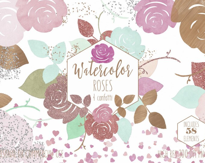BLUSH PINK & MINT Watercolor Floral Clipart Commercial Use Clip Art 58 Watercolor Rose Gold Wedding Chic Confetti Hearts Invitation Graphics