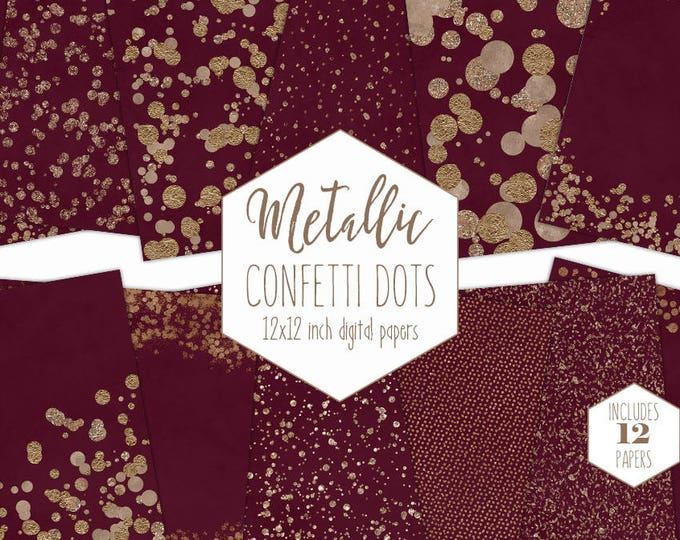 ROSE GOLD FOIL & Burgundy Digital Paper Pack Confetti Dot Backgrounds Metallic Scrapbook Paper Wine Red Wedding Patterns Party Clipart