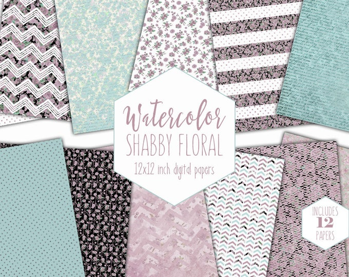 BLUSH PINK FLORAL Digital Paper Pack Commercial Use Mint Watercolor Backgrounds Shabby Flower Scrapbook Papers Watercolour Chevron Patterns