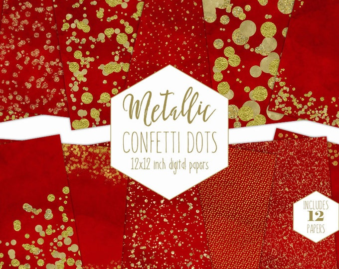GOLD FOIL & RED Digital Paper Pack Confetti Backgrounds Metallic Christmas Scrapbook Paper Holiday Patterns Party Printable Commercial Use