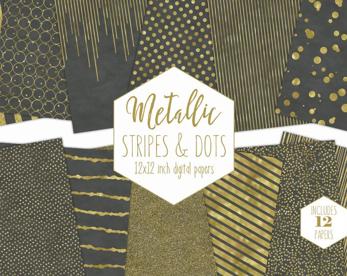 GRAY & GOLD FOIL Digital Paper Pack Stripe Backgrounds Metallic Confetti Scrapbook Paper Polka Dot Wedding Patterns Party Printable Clipart