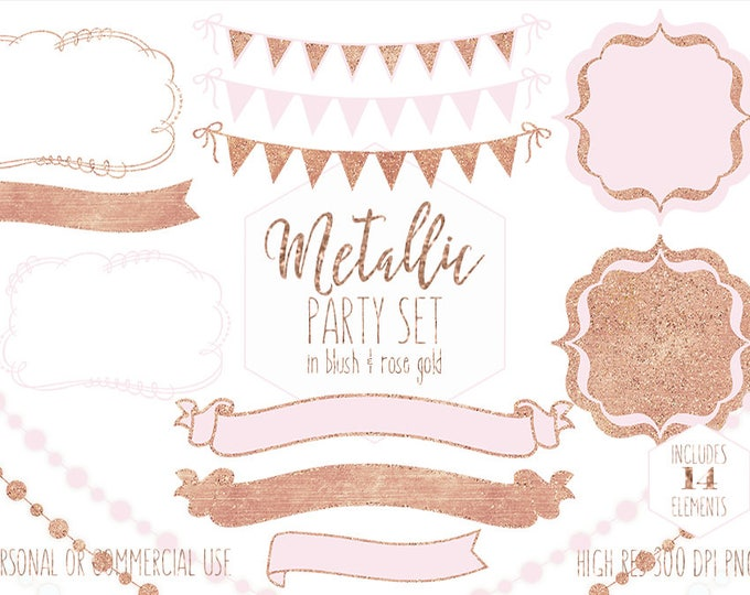 ROSE GOLD PARTY Clipart for Commercial Use Blush Pink Planner Clip Art Bunting Banners Fairy Lights Baby Shower Invitation Digital Graphics