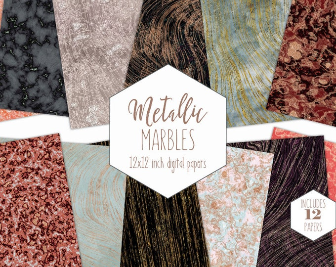 MODERN METALLIC MARBLE Digital Paper Pack Commercial Use Rose Gold Backgrounds Gold Marbled Scrapbook Paper Peach Mint Black Marble Textures