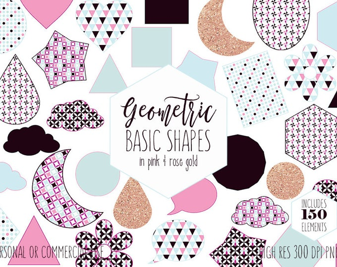 GEOMETRIC SHAPES CLIPART for Commercial Use Planner Clip Art Blush Pink & Rose Gold Glitter Circle Star Moon Cloud Sticker Digital Graphics